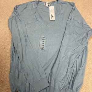 Brand new Lacoste blue Vneck sweater. Xl